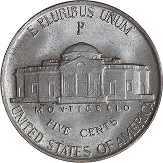 United States Mint - Reverse of a wartime nickel, with the P mintmark of the Philadelphia mint located above Monticello