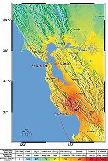 A map showing the earthquake's epicenter in California's Santa Cruz Mountains, and the various levels of earthquake shaking intensity felt in the surrounding region