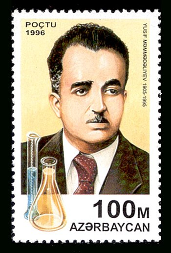 Stamp dedicated to the 90th anniversary of chemist Yusif Mammadaliyev. - List of Azerbaijanis