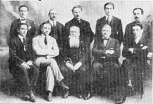 Argentine legislative election, 1920 - Mar del Plata Mayor Teodoro Bronzini (light suit) and the new, Socialist city government, among the first in the Americas.