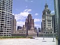 20080615 Wrigley Building clock and Tribune Tower from Sixteen.jpg