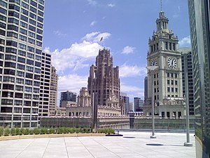 Tribune Tower - Tribune Tower along with Wrigley Building clock tower as seen from Trump International Hotel and Tower's restaurant, Sixteen
