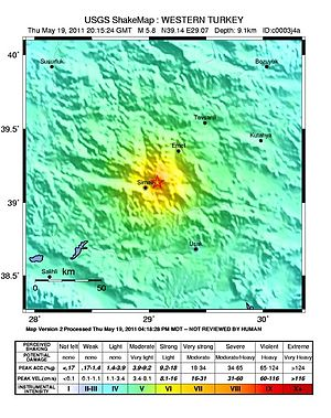 2011 Kütahya earthquake - USGS ShakeMap for the event