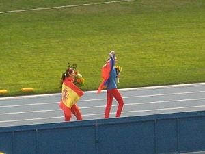 2013 World Championships in Athletics – Women's high jump - Winner Svetlana Shkolina and bronze medalist Ruth Beitia