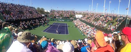 Evening view of the grounds during the 2013 BNP Paribas Open. 2013 Indian Wells Masters tennis court - 002.jpg