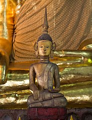 A Thai Lue Buddha statue in Wat Non Bua, Tha Wang Pha District, Thailand
