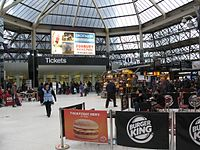 2013 at Reading station - Brunel Arcade ticket office.JPG