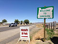 2014-07-06 12 20 24 Welcome to Oregon sign along northbound U.S. Route 95 about 75.4 miles north of the junction with Interstate 80 at the Oregon border in McDermitt, Nevada.JPG