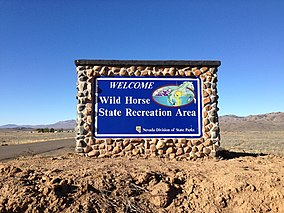 2014-09-25 08 36 52 Sign at the entrance to Wild Horse State Recreation Area on Wild Horse Reservoir, Nevada.JPG