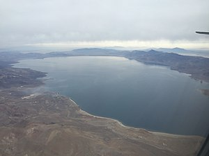Pyramid Lake (Nevada) - View of Pyramid Lake from an airplane