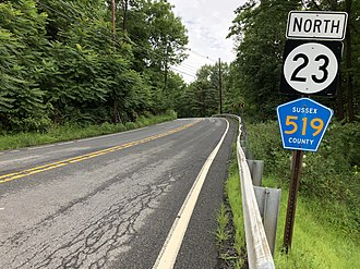 Wantage Township, New Jersey - Route 23 and CR 519 northbound concurrency in Wantage Township