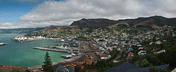 Lyttelton inner harbour and township in February 2010
