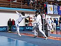 2nd Leonidas Pirgos Fencing Tournament. Extension by Giorgos Alvanos and 6th parry by his opponent.jpg