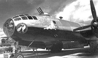 """Dudhkundi Airfield - 678th Bomb Squadron 44-70108 """"Sweet Thing"""". Notice the black paint applied to the under surface of the aircraft. This was applied to reduce reflection of Japanese searchlights when flying low-level night incendiary missions."""