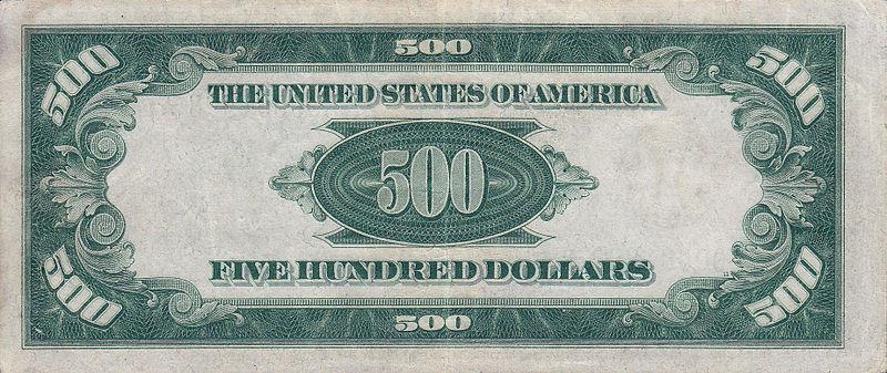 500 USD note; series of 1934; reverse.jpg