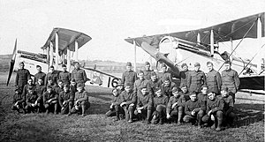 50th Education Squadron - Members and De Havilland DH-4 aircraft of the World War I 50th Aero Squadron, photographed at Clermont-en-Argonne Airdrome, France, 1918.  The 50th AS is the earliest predecessor unit of the 50th Education Squadron