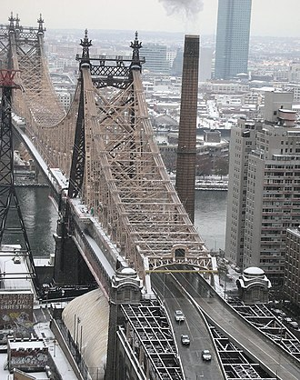 Queensboro Bridge - Looking east from Manhattan toward Queens