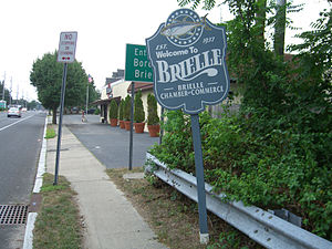 Brielle, New Jersey - Brielle welcome sign at the border with Manasquan on Union Avenue.