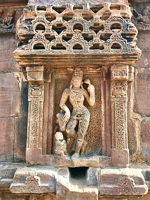Pattadakal - Ardhanarishvara (left half Shiva, right half Parvati) at the Kadasiddheswara temple.
