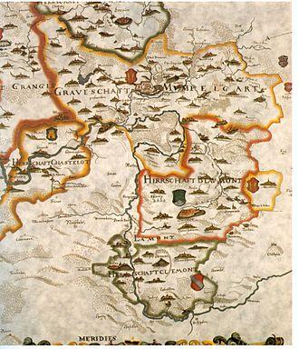 "County of Montbéliard - 1616 map of ""Mumpelgart"", ""Chastelot"", ""Clemont"", and ""Blaumont"""