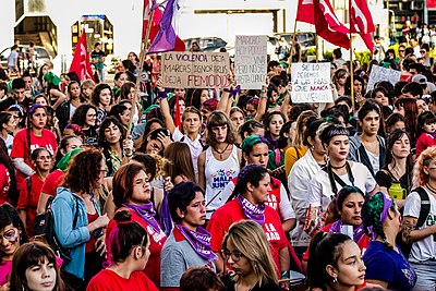Feminist protesters at the International Women's Strike in Parana, Argentina (March, 2019). 8M Parana 2019 13.jpg