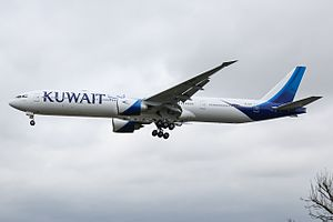 Kuwait Airways - A Kuwait Airways Boeing 777-300ER wearing the new livery on final approach to London Heathrow Airport.