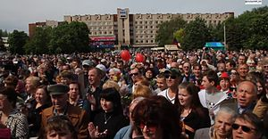 War in Donbass - Pro-separatist rally in Sloviansk, 9 May 2014
