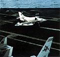 A-4E Skyhawk of VA-106 lands on USS Forrestal (CVA-67) in 1967.jpg