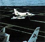 A-4E Skyhawk of VA-106 lands on USS Forrestal (CVA-67) in 1967.jpg