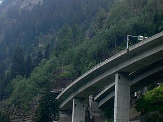 A2 motorway (Switzerland) - The A2 motorway in Ticino, suspended over viaducts