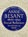 ANNIE BESANT 1847-1933 Social Reformer lived here in 1874.jpg
