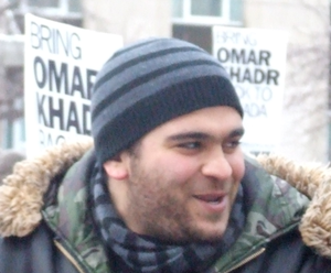 Abdurahman Khadr - Abdurahman Khadr at the American Consulate in Toronto, as part of a protest requesting his brother's repatration from Guantanamo Bay.