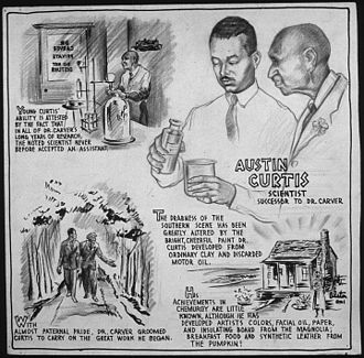 """Austin Curtis - Scientist successor to Dr. Carver"", cartoon by C.H. Alston AUSTIN CURTIS - SCIENTIST SUCCESSOR TO DR. CARVER - NARA - 535696.jpg"