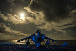 AV-8B Harrier II sits on the flight deck aboard the amphibious assault ship USS Boxer.jpg