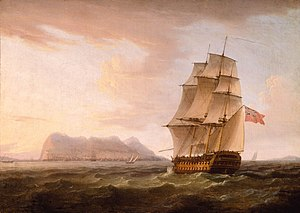 A British Man of War before the Rock of Gibraltar by Thomas Whitcombe.jpg