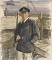 A Lieutenant on the Bridge, Hm Trawler - (lieut G Maccoll Smith, Rnr) Art.IWMART934.jpg
