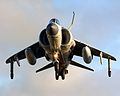A Sea Harrier FA2 of 801 Squadron is seen hovering above the deck of HMS Illustrious. MOD 45146088.jpg