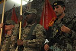 A U.S. Soldier with the 82nd Airborne Division, a U.S. Soldier with the 3rd Infantry Division and an Afghan National Army soldier stand at attention during the Regional Command-South transfer of authority 120902-A-YE732-111.jpg
