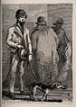 A blind beggar walks past two figures guided by his dog with Wellcome V0015892.jpg
