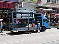 A blue truck with soy bean goods in Yuen Long.jpg
