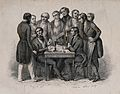 A crowd watches as two men gamble; representing the phrenolo Wellcome V0009472.jpg