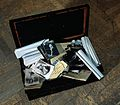 A metal and timber box, once the property of E N Fallaize, u Wellcome L0031842.jpg