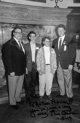 Nathan Fletcher - Childhood photo of Fletcher standing with Governor Bill Clinton in Arkansas.