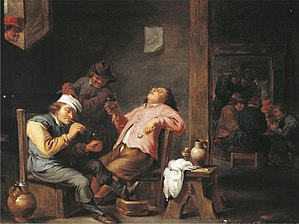 Abraham Teniers - Drinker and smokers in a tavern