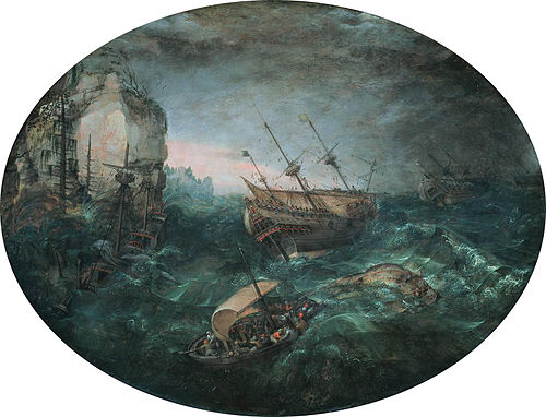 Shipwreck off a rocky coast by Adam Willaerts Abraham Willaerts Shipwreck off a Rocky Coast 1614.jpeg