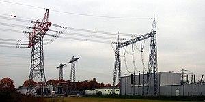 Dead-end tower - a strain pylon and an anchor portal