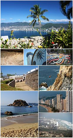 Acapulco panoramic collage. Top, frae left tae richt: Acapulco Bay frae Chapel o Peace, Petroglyphs in Palma Sola, Nuestra Señora de la Soledad Cathedral, Mural bi Diego Rivera in Dolores Olmedo Hoose, San Diego Fort, La Quebrada, La Condesa Beach, Acapulco Dorado an Acapulco Diamante.