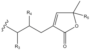 Acetogenin - Acetogenin terminal lactone ring core unit (unsaturated)