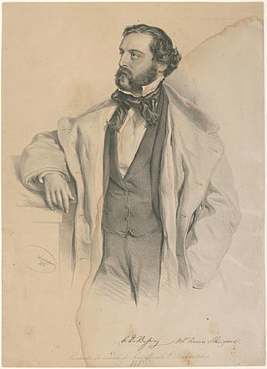 I due Foscari - Baritone Achille De Bassini, the first Francesco. (Litho: Josef Kriehuber, 1854)