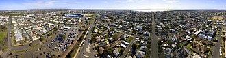 Geelong - Aerial panorama of Geelong facing the bay. Taken August 2018.